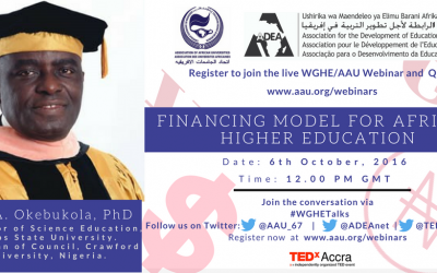Working Group on Higher Education Concept Paper for Third Webinar  6th October 2016  Financing Model for Higher Education in Africa