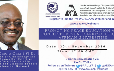 Concept Paper for the 6th Webinar- Promoting Peace Education and Conflict Prevention/Resolution in African Universities|30th November, 2016