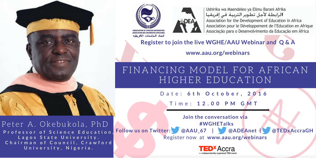Working Group on Higher Education|Concept Paper for Third Webinar| 6th October 2016| Financing Model for Higher Education in Africa