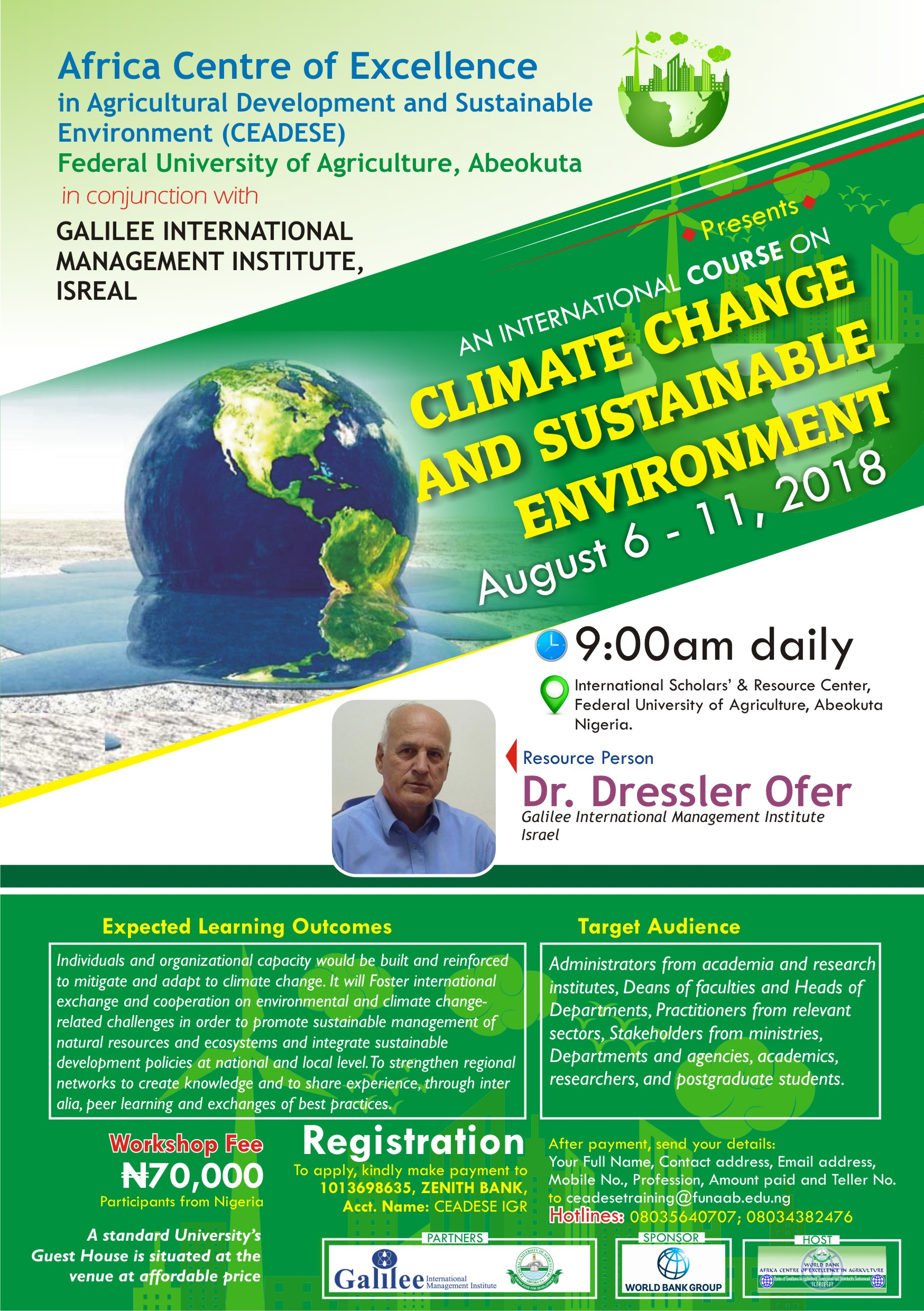 Workshop on Climate Change and Sustainable Environment